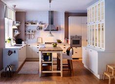kuchnia ikea - zlew pod oknem i wysoko piekarnik <3