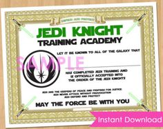 Jedi Training Certificate  Instant Download  Full Service