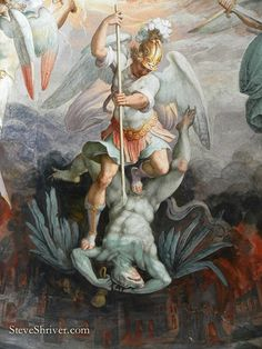 Seven Devils Giorgio Vasari and Federico painting on ceiling of Saint Pius V Giorgio Vasari, Renaissance Kunst, Renaissance Paintings, St. Michael, Saint Michael, Angel Artwork, Kunst Online, Angel Warrior, Ange Demon
