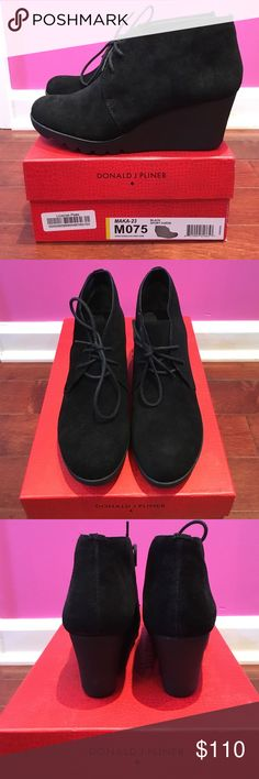 """NWT Donald J Pliner Black Suede Booties NWT and box included. Donald J Pliner black suede booties. Lace up in front. Wedge measures about 2-1/2"""" tall with 1/2"""" platform in front. Donald J. Pliner Shoes Ankle Boots & Booties"""