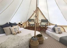 Family getaway 👨‍👨‍👦 for So much space in our bell tents, no more tripping over the youngsters in the middle of the night sleeping in a traditional tent. Bell Tent Glamping, Camping Glamping, Luxury Camping, Yurt Living, Living Spaces, Glamping Holidays, Tent Decorations, Interior Design, Bronze Age
