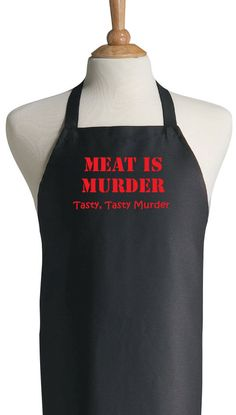 Black BBQ Apron Meat Is Murder - Funny Grilling Aprons on Etsy, $14.95