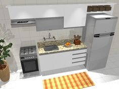 Resultado de imagem para projeto de cozinha pequena linear Linear, Kitchen Island, Home Decor, Small Kitchen Designs, Kitchen Small, Sink Tops, Island Kitchen, Decoration Home, Room Decor