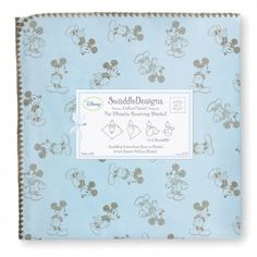 MICKEY MOUSE Taupe Gray on Pastel Blue Ultimate Receiving Blanket® by SwaddleDesigns