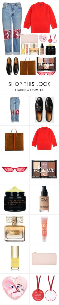 """6.159"" by katrinattack ❤ liked on Polyvore featuring Topshop, Gucci, Clare V., Jonathan Saunders, NYX, MAKE UP FOR EVER, Givenchy, Lancôme, Dolce&Gabbana and outandabout"
