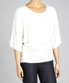 Look what I found on #zulily! White Dolman Scoop Neck Top - Plus by Poliana Plus #zulilyfinds