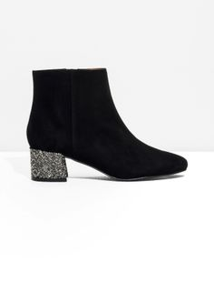 & Other Stories image 1 of Suede Sequined-Heel Ankle Boot in Black