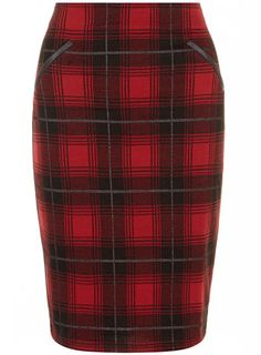 Red check pencil skirt - Skirts  - Clothing