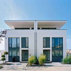 Moderne doppelhäuser flachdach  Doppelhaus bauen schlüsselfertig in moderner Architektur ...
