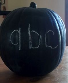 Chalkboard pumpkin- maybe a fake one from Michaels? Different sizes?  @Terrie Carlson