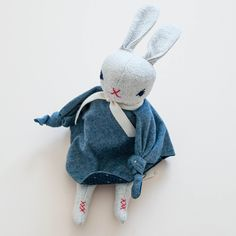shopminikin - Polka Dot Club Cuddling Rabbit. Denim (http://www.shopminikin.com/polka-dot-club-cuddling-rabbit-denim/)