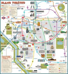 Tourist map of Madrid attractions, sightseeing, museums, sites, sights, monuments and landmarks