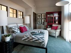 Love the mix of patterns in the HGTV Green Home guest bedroom.
