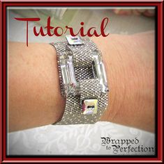 Instant download PDF tutorial of a stylish peyote cuff. The closure of this beautiful statement bracelet incorporates a large Swarovski square as well as Swarovski square buttons. The tutorial includes step-by-step instructions with a combination of computer graphics and