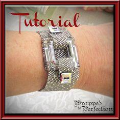 Pewter and Silver Bracelet / PDF Tutorial / Beadweaving Peyote Bracelet / Swarovski Crystal Square / Bead and Button August 2012