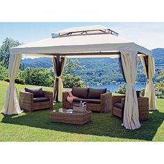 Sol 72 Outdoor This Aluminium Patio Gazebo with curtains features a classic and elegant design. It will make the perfect sunshade shelter for outdoor events, such as dinners, BBQs, family gatherings and so on. Bbq Gazebo, Gazebo Sale, Gazebo Plans, Gazebo Canopy, Popup, Palermo, Permanent Gazebo, Enclosed Gazebo, Outdoor Patios
