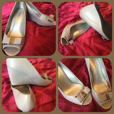 Bandolier open toe wedges Light gray in color. In excellent condition Bandolino Shoes Wedges