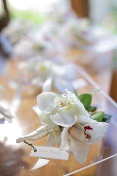 White Orchid & Cymbidium boutonnière for groom by Tirtha Bridal Uluwatu Bali