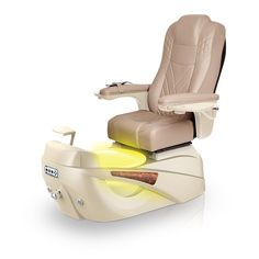 Luminous pedi-spa shown in Acorn Ultraleather cushion, Champagne base, Aurora LED Color-Changing bowl (shown in yellow)