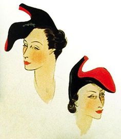 Designs for Elsa Schiaparelli and Salvadore Dali's original 'shoe hat'.