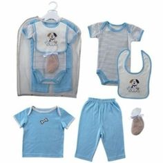 Hudson Baby Gift Collection, 6 Piece, 0-3 Months, (baby boy, baby clothes, onesies, bodysuit, body suits, luvable friends, baby dog, baby doggy, baby puppy, boy onesies) baby-products baby-clothes