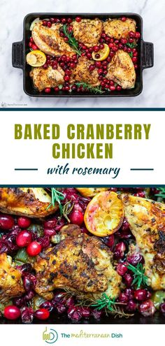 This easy Baked Cranberry Chicken recipe with rosemary is your ticket to a comforting, show-stopping dinner! You'll love the bold flavors from fresh minced garlic, rosemary, and citrus. Fresh cranberries make a festive, luscious and juicy topping. Cranberry Chicken, Recipe Using Chicken Breasts, Garlic Rosemary Chicken, Shakshuka Recipes, Mediterranean Dishes, Chicken Recipes, Everyday Food, One Pot Meals