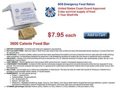 prepareseahora - SOS Emergency Food Ration 3600 Calorie Food Bar