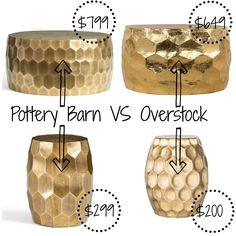 Decor Look Alikes | Pottery Barn Vintage Metal-Clad Tables $299-$799 vs $200-$649 @overstock