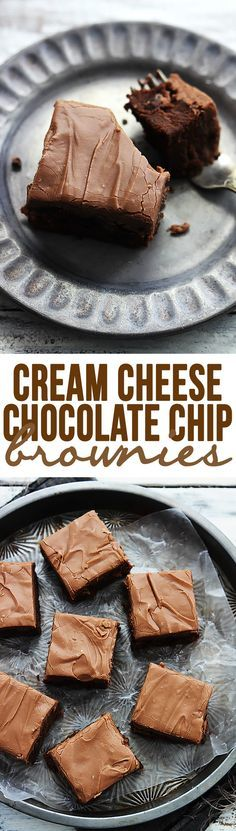 Cream cheese chocolate chip brownies – perfectly fudgey, chewy, and RICH cream cheese brownies with milk chocolate chips and chocolate cream cheese frosting! | Creme de la Crumb