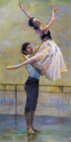 """Rehearsal"" by Jin G. Kam - http://www.allposters.com-stJin-G-Kam-Posters_c25622_.htm  - Ballet, балет, Ballerina, Балерина, Dancer, Danse, Танцуйте, Dancing"