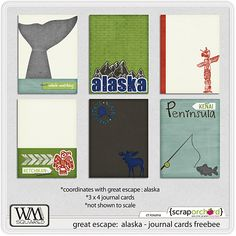 Great Escape: Alaska journal cards freebie from WM Squared #projectlife #printable