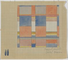 RISD Museum: Gunta Stölzl, Swiss, b.Germany, 1897 - 1983. Doppelgewebe (design for a double-weave textile), 1925/1931. Watercolor on square-ruled paper. Framed: 35.6 x 33.7 cm (14 x 13 1/4 inches). Gift of Ruth Kaufmann 2006.26.3