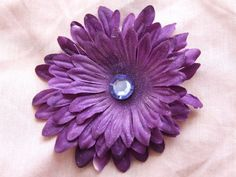 Sparkly Purple Flower Hair Clip by ang744 on Etsy, $5.00