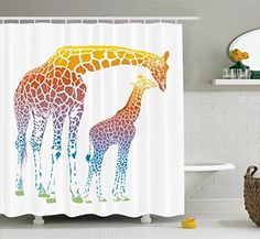 Giraffe Shower Curtain Set by Ambesonne, Mom and Kid Giraffe in Rainbow Colors Abstract Art Surrealist Illustration of African Animal, Fabric Bathroom Decor with Hooks, 75 Inches Long, Multi