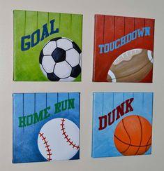 Sports Wall Art, Print, Original Painting, Canvas Wall Art via Etsy (wall art crafts canvases) Wall Art Crafts, Diy Wall Art, Canvas Wall Art, Painting Canvas, Kids Canvas, Canvas Signs, Diy Painting, Canvas Prints, Sports Painting