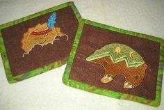Set of 2 Tribal Bear and Sun Felt Embroidery Mug Rug
