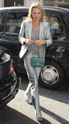 Kate Moss Silver Pantsuit 2017 Street Style