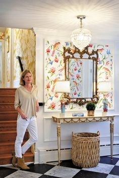 Designer Dana Gibson with some of her exquisite wallcoverings, which are distrib. - House 5 - Designer Dana Gibson with some of her exquisite wallcoverings, which are distributed along with her - Home Decor Inspiration, Design Inspiration, Framed Wallpaper, Foyer Wallpaper, Wallpaper Panels, Wallpaper Furniture, Wallpaper Ideas, Gibson Home, Chinoiserie Chic