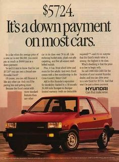 In light of Throwback Thursday, check out this vintage add for the #Hyundai Excel. Imagine paying only $5700 for a car these days!  *Fun Fact: The Hyundai Excel was replaced by the current day Accent. #TBT