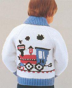 Cute train lover's crochet jacket