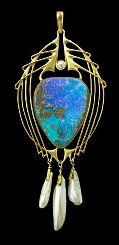 ARCHIBALD KNOX 1864-1933,  Liberty & Co Pendant  Gold Opal Pearl  British, c.1900