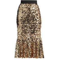 Dolce & Gabbana Sequin-embellished midi skirt ($1,575) ❤ liked on Polyvore featuring skirts, gold, pin skirt, sequin midi skirts, sequin skirt, brown midi skirt and glitter skirt