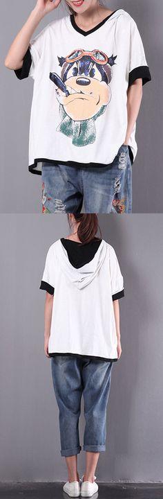 white cartoon print  tops short sleeve hooded t shirt