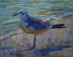 SEAGULL ANTICIPATING A HAPPY NEW YEAR, painting by artist Elizabeth Blaylock