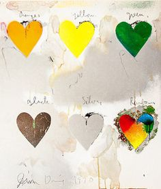 "JIM DINE ""8 HEARTS / LOOK"" LITHO POSTER, 1970"