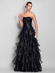 Um querido Line organza andar de comprimento vestido de cetim stretch e de noite / baile de finalistas (663.685)