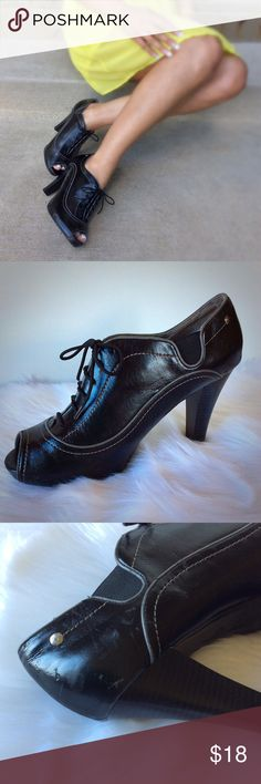 Peep Toe Booties EUC ~ Signs of wear, lots of life left!  Priced to Sell! Fergalicious Shoes Ankle Boots & Booties