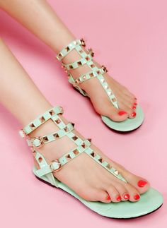 Mint green sandals with rivets...Hey girl hey follow my blog where everyday I empower you to fab, fierce, free and BUILD AN ONLINE EMPIRE! www.fabfiercefreedom.com