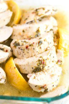 Lemon Garlic Baked Chicken Breast Recipe on inspiredtaste.net