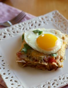 Huevos Rancheros Hash Brown Casserole with hot bubbling green chile sauce and gooey melted cheese it makes the perfect addition to any brunch table, and it is gluten-free too!